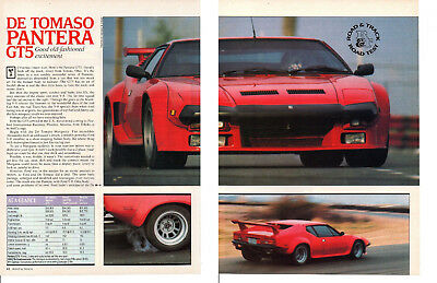 1984 De Tomaso Pantera Gt5 351/261Hp ~ Original 6-Page Road Test / Article / Ad