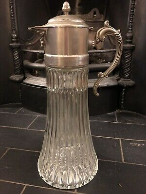 Vintage Decanter With Silver Plated Wine Pitcher Claret jug Antique