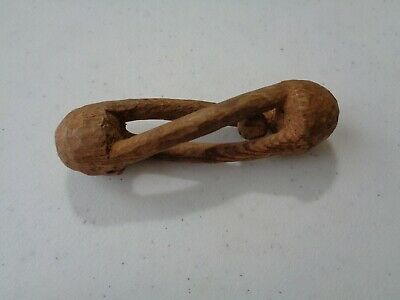 """Rare Older Vintage 4"""" Carved Wood with Ball Inside Amazing Very Cool"""