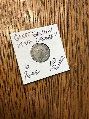 George V 1928 Great Britain 6 Pence COIN .500 Silver Circulated VG FS