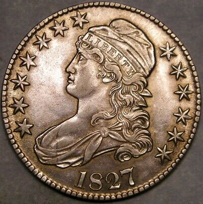 1827 Capped Bust Lettered Edge Silver Half Dollar Scarce Beautiful Green Toning