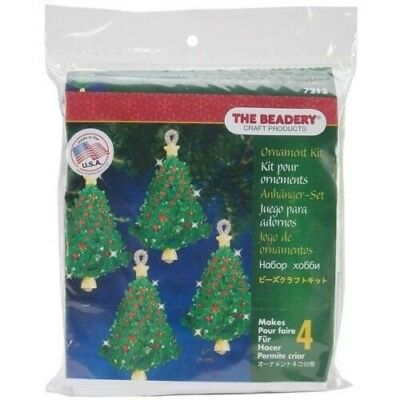 "Emerald Christmas Tree Ornaments Bead Kit Makes 4  3.5"" (9 cm) Free Post"