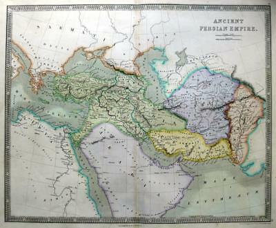 ANCIENT PERSIAN EMPIRE IRAN  BY DOWER / TEESDALE  GENUINE ANTIQUE  MAP  c1844