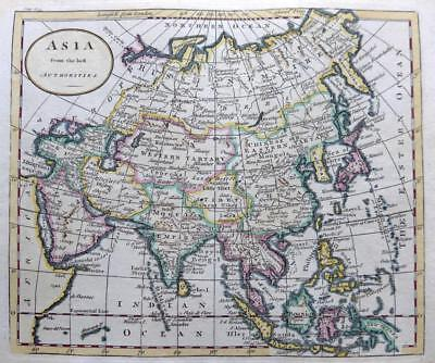 ASIA BY THOMAS KITCHIN c 1792 GENUINE ANTIQUE COPPER ENGRAVED MAP
