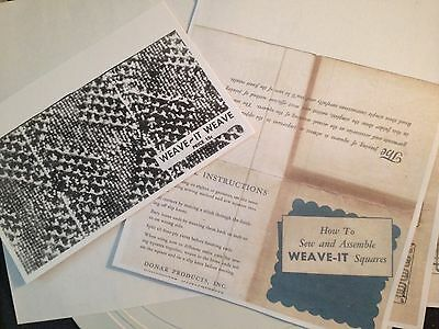 Weave It loom How-to make & Assemble Woven squares instruction booklet copies