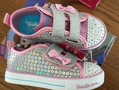 6d294ad8b799 New Twinkle Toes Skechers Girls Light Up Toddler Glitter Shoes Size 9  Lighhtwei