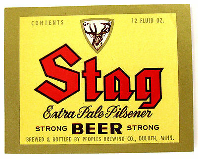 Peoples Brewing  Co STAG EXTRA PALE PILSENER - STRONG beer label MN 12oz