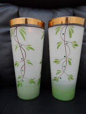 Beautiful  vintage pair of large hand painted glass vases