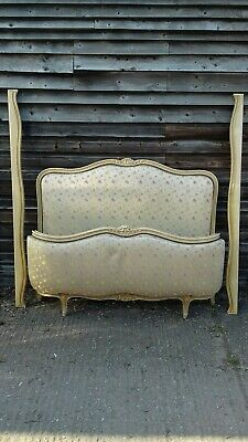 Antique French Beech Framed Corbeille Louis XV Style Double Bed Frame (H344)