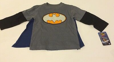 DC Comics Toddler Boys Batman Long Sleeve T-Shirt with Cape Size 12 month NWT