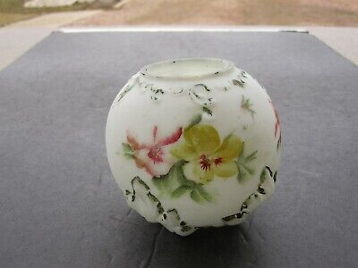 Antique Dithridge Co. Ray End Hand Decorated Footed Satin Milk Glass Rosebowl