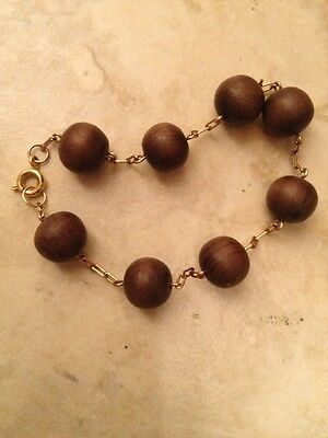 Hippy Chick Wood And Gold Folled Bracelet From 1964 Awesome