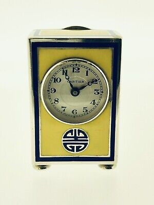 Miniature Silver Enamelled Cartier Carriage Clock, Mantle Clock