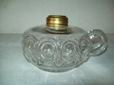 antique glass Bulls eye pattern  finger oil lamp