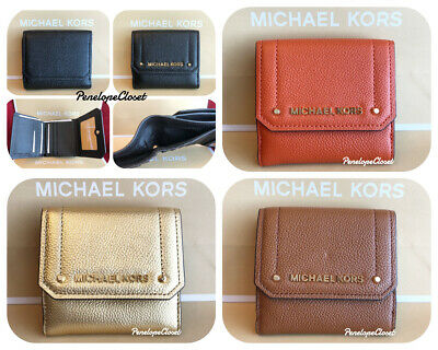 7cb2a16e1c8a Nwt Michael Kors Pebbled Leather Hayes Md Trifold Coin Purse Wallet Various