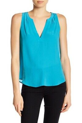c3c55ce4c90974 JOIE Fifi Sleeveless PEACOCK Blue Silk Tank Top Shirt Cami SeXy SIZE Medium  NWT