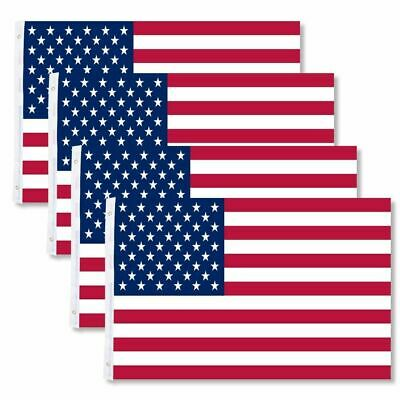 FOUR 4-Pack 3x5 American Flags w/ Grommets USA United States of America US Stars