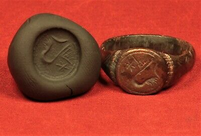 Fine Medieval Knight's Bronze Seal Ring - 12. Century