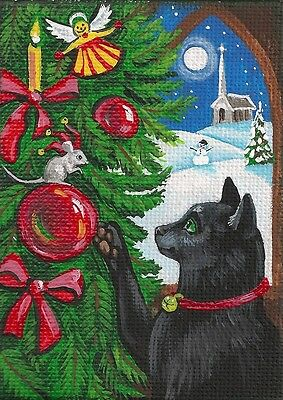 Aceo Print Of Painting Ryta Black Cat Mouse Xmas Elf Folk Art Angel Snowman Tree