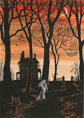 Halloween Aceo Print Of Painting Ryta Ghost Haunted House Ghoul Witch Halloween