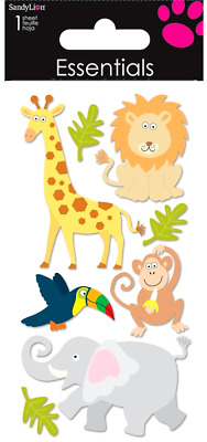 Wavy Paper * Sandylion Vintage Glittery Party Zoo Animal Stickers 1 Maxi Sheet