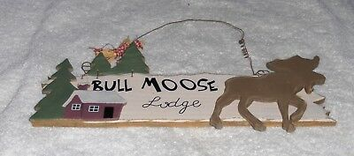 Vtg Bull Moose Lodge Rural Winter Plaque Wooden Brown Moose Cabin Wall Hanging