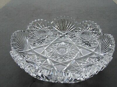Antique American Brilliant Heavy Low Edge Cut Glass Bowl Hobstars File & Fans