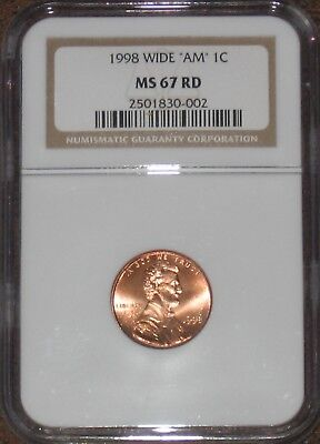 1998 Lincoln Penny Type 2 Wide AM NGC Certified MS67 RD RED cent TOP POP grade