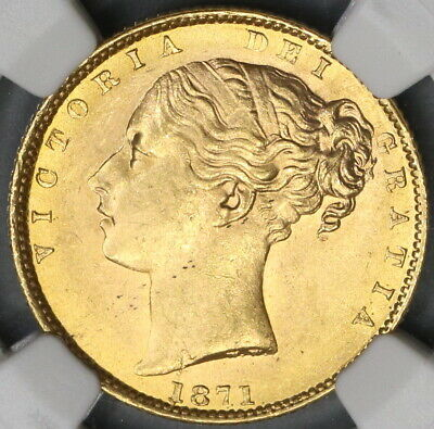 1871 NGC MS 64 Victoria Gold Sovereign Great Britain Die 29 Coin (19033101C)