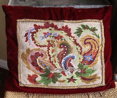 Antique Victorian Beadwork Beaded Needlepoint Silk Velvet Pillow
