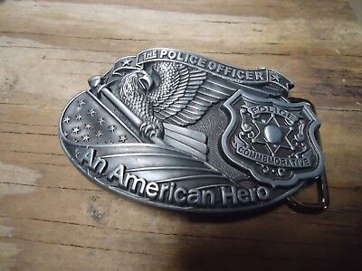 Belt Buckle Police Officer American Hero Ideal Gift approx. 3.75 x 2.5 in (1B)