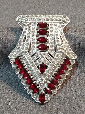 LARGE VINTAGE 1920s ART DECO SPARKLING RED & CLEAR RHINESTONE PASTE  BROOCH CLIP