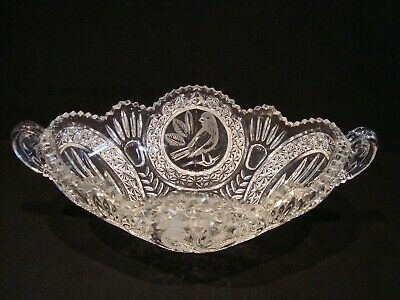 "Beautiful Hofbauer Crystal Byrdes Bird 14"" OVAL COMPOTE CONSOLE BOWL DISH"