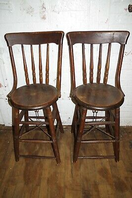 Antique Rare Pair S Bent Wood Wicker Windsor Chairs Bar Stools W Metal