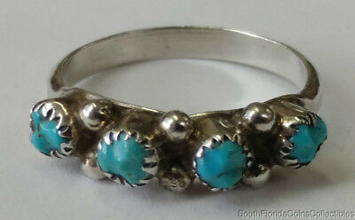 Estate Jewelry Beautiful Turquoise Stone Ring Sterling Silver Size 6.75
