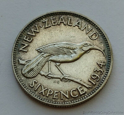1934 New Zealand Six Pence .500 Silver Coin