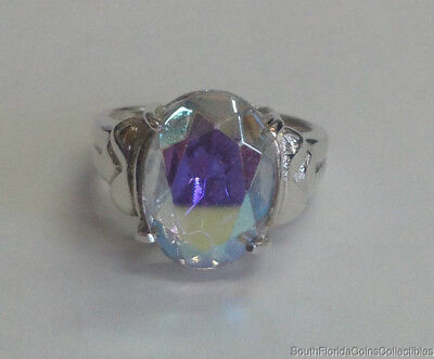 Estate Jewelry Beautiful Neon Color Changing Ring Sterling Silver Size 7.25
