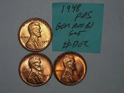 wheat penny 1948-D,1948-S RED BU SET 1948,1948D,1948S LOT #3 UNC LINCOLN CENT