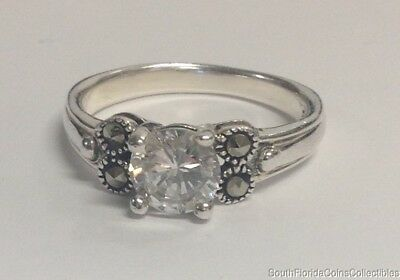 Estate Jewelry Beautiful CZ Marcasite .925 Sterling Silver Ring Size 9