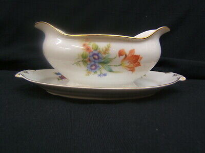 Gravy Boat w/Attached Underplate NAR7 Narumi China Multicolor Flowers VGC