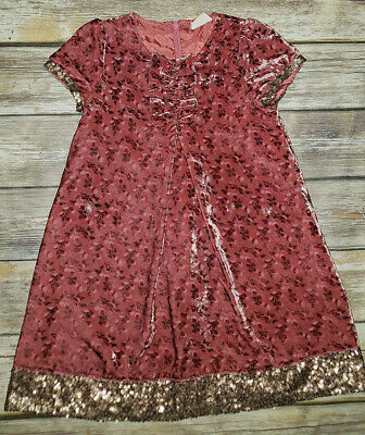 e7ff5ada254e Girls MINI BODEN Velvet Floral Mauve Gold Sequin Holiday Dress Sz.5-6 Years