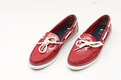 76de918eb74 Cole Haan Women s Red  Nantucket Camp Moc  Patent Leather Boat Shoes Size  ...