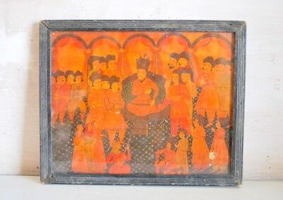 Miniature Mughal King Darbar Antique Artist Fine painting