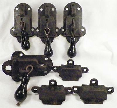 4 Antique Crab Claw Locks with Toggle Handles 3 Keepers HELP WITH LOCK NAME AGE