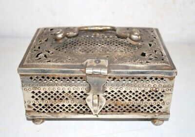 Antique Old Brass  Rare Hand Crafted Beautiful Jali Cut Islamic Storage Box