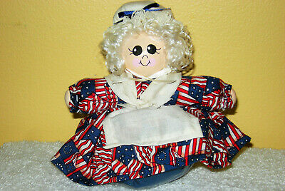 "HANDMADE 5"" ROLY POLY AMERICANA BETSY ROSS JULY 4th POTPOURRI BEAN BAG DOLL"