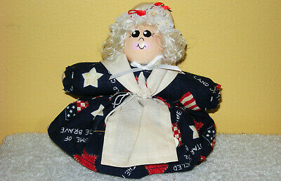 "HANDMADE 5"" ROLY POLY AMERICANA BETSY ROSS JULY 4th BEAN BAG POTPOURRI DOLL"