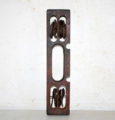 Antique Old Wooden Iron Hand Crafted Saint Musical Instrument Tool