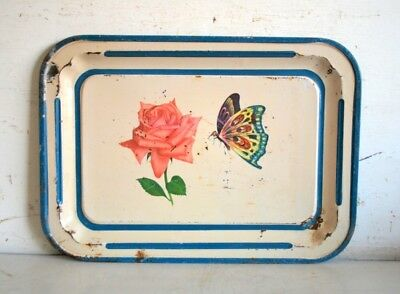 Serving Tin Tray Old Vintage Original Litho White Print Beautiful Tray Plate