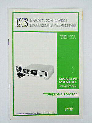 REALISTIC TRC-457 OWNERS MANUAL with FCC PART 95 RULES for
